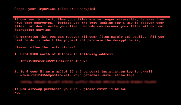 Figure 2. Ransom note displayed on computers infected with the Petya ransomware, demanding $300 in bitcoins
