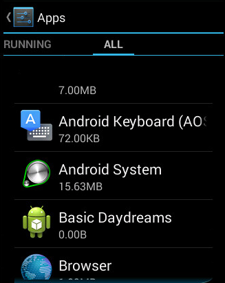 Figure 3. Settings screen with blank Android.DoubleHidden entry