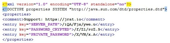 Figure 5. Typical contents of mega.download configuration file complete with URL to website selling software and support for JRAT