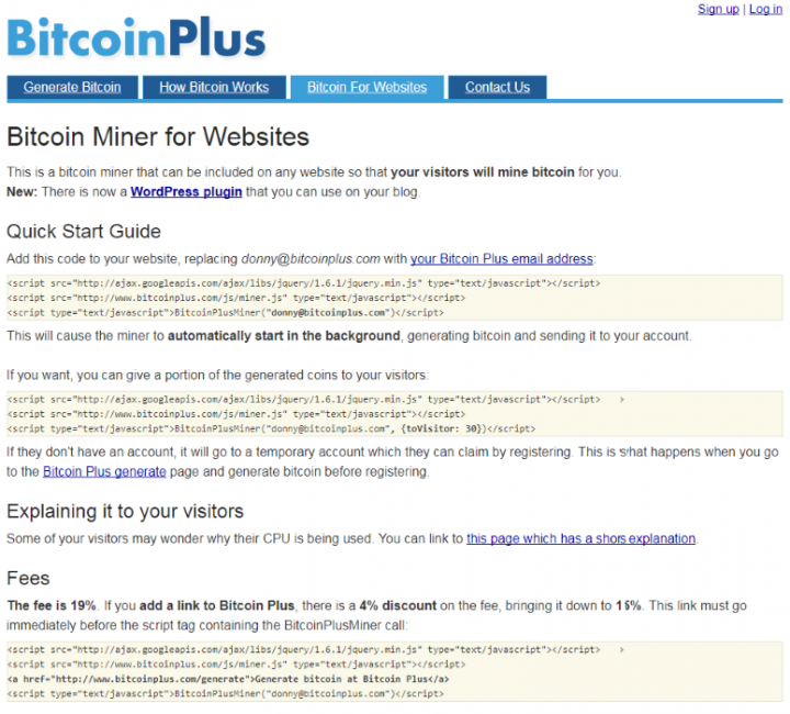 Figure 1. BitcoinPlus.com was a browser-based miner for Bitcoin dating from 2011