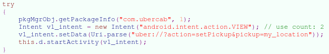 Figure 3. Malware code firing the VIEW intent with the deep link URI for Ride Requests
