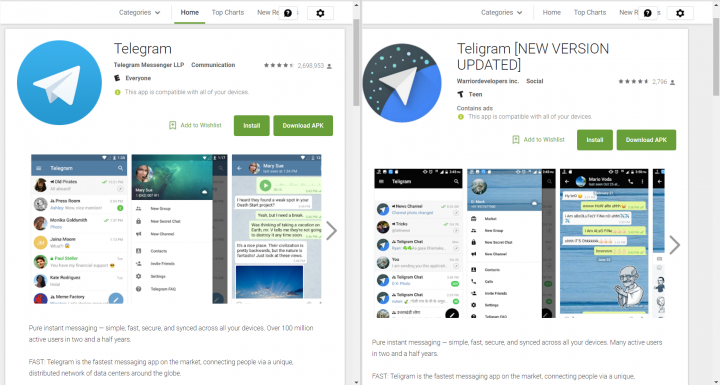 Figure 1. The legitimate Telegram (left) and Teligram (right) app pages on Google Play