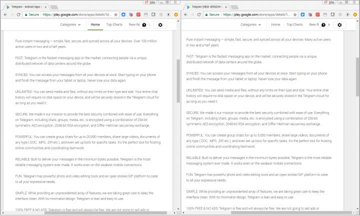 Figure 2. The Telegram (left) and Teligram (right) app descriptions on Google Play are identical