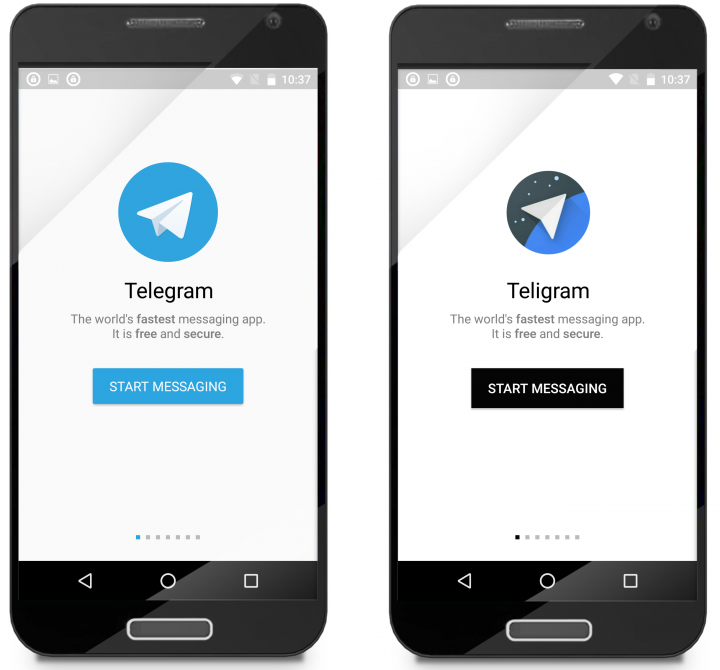 Figure 3. A slightly modified icon and minor color changes are the only differences between the legitimate (left) and fraudulent (right) apps