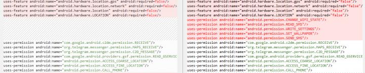 Figure 7. Malware built using Telegram open source code requests more sensitive permissions (right)