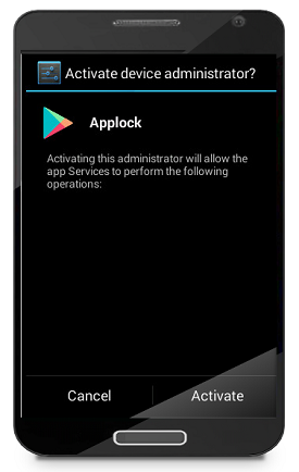 Figure 2. Using the Google Play icon while asking for admin privileges