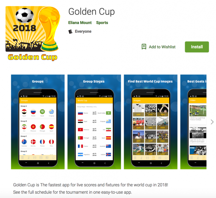 """The official """"Golden Cup"""" Facebook page. The short URL redirects to the application page at Google Play."""
