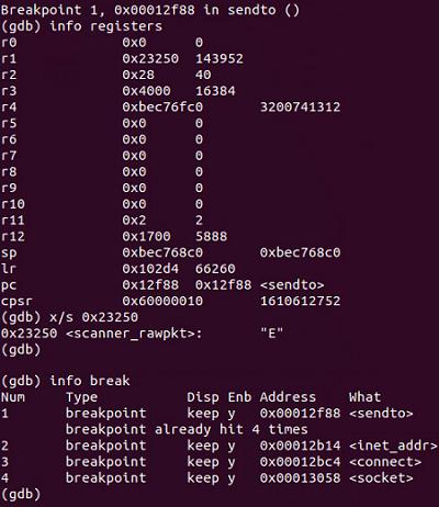 Figure 3. Sample being debugged in a Debian ARM port