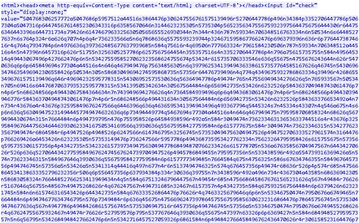 Figure 2. Looking at the source code of the scam reveals a large chunk of obfuscated content