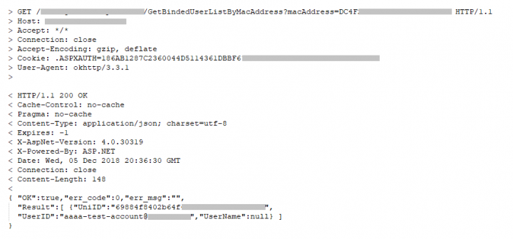 Figure 2. Device enumeration leaks email addresses