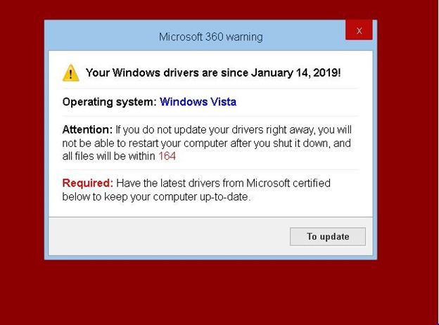 Figure 7. Fake pop-up asking users to download the latest drivers