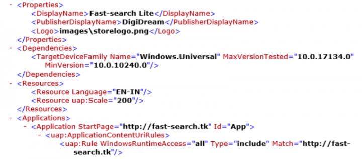 "Figure 2. ""Fast-search.tk""—the domain for the Fast-search Lite app—is hardcoded in the apps' manifest file"