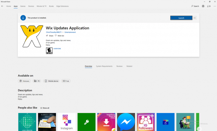 Figure 1. Wix Updates Application store page
