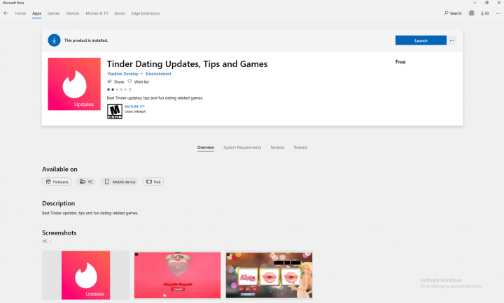 Figure 2. Tinder Dating Updates, Tips and Games store page