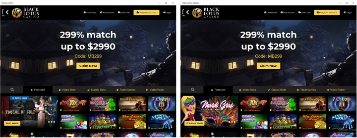 Figure 4. Screenshots of Unique Casino and Virgin Games Updates at start time