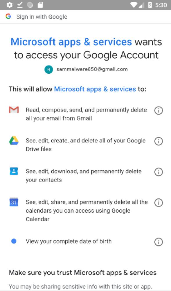 Figure 1: Microsoft Outlook app authentication through Google