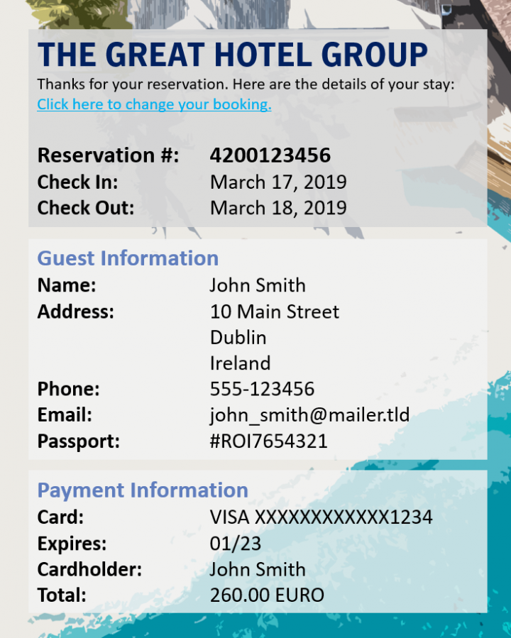 Figure 1. Sample reservation confirmation showing the types of guest's booking data that could be leaked