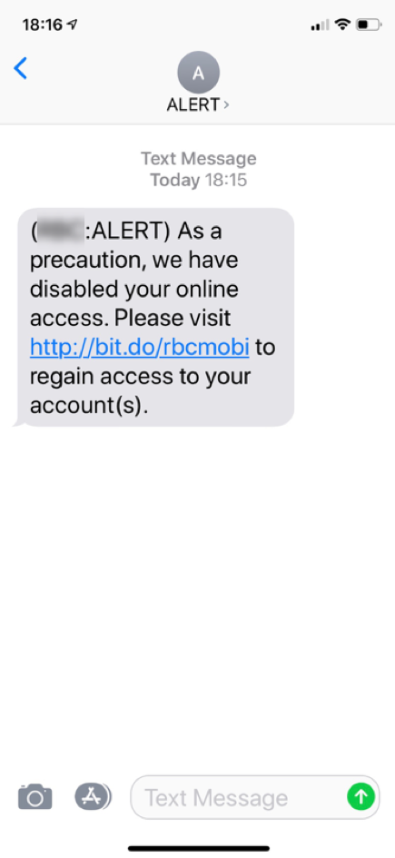 SMS message detected by SEP Mobile as phishing.