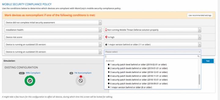 Os administradores podem escolher qual será a tolerância em relação a versões desatualizadas de SO/patches, selecionando em uma lista de definições de upgrade do SO que é ajustada conforme são lançadas novas atualizações.