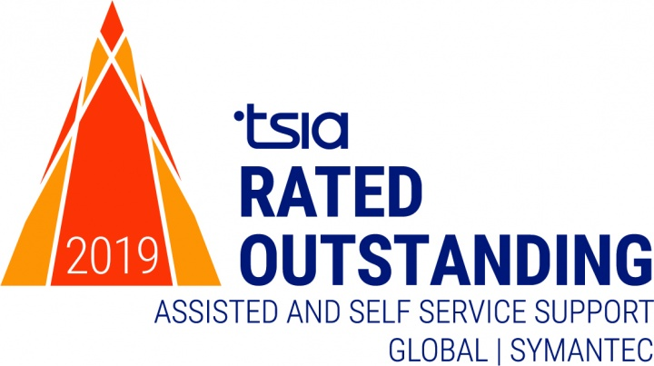 "Symantec has successfully achieved the Technology Services Industry Association (TSIA) ""Rated Outstanding, Global Assisted & Self-Service Support"""