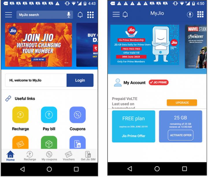 Figure 2. Left: Main screen of legitimate MyJio app. Right: Main screen of fake Jio app. Both apps share similar UI design and structure.