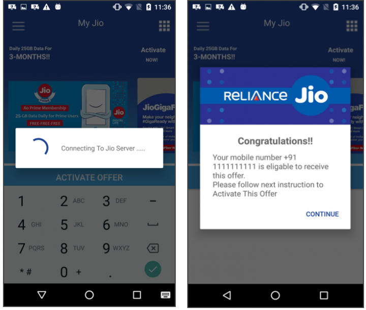 """Figure 3. Fake Jio app showing dummy loading spinner (left) followed by a congratulatory message (right) asking victim to proceed to """"Activate This Offer"""""""
