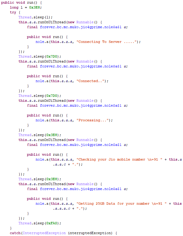 Figure 4. The malicious app's source code shows no real connections or processing takes place while spinner is loading, and a sleep timer gives a false impression of progress