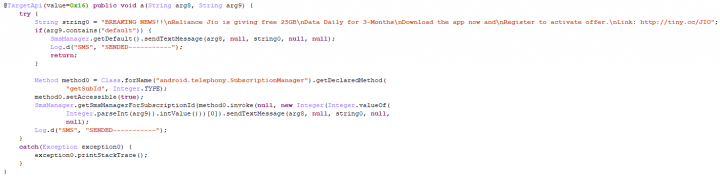 Figure 6. Source code shows app attempting to secretly send out SMS messages without user's consent