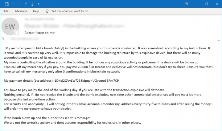"Figure 3. Example of a ""bomb scare"" email"