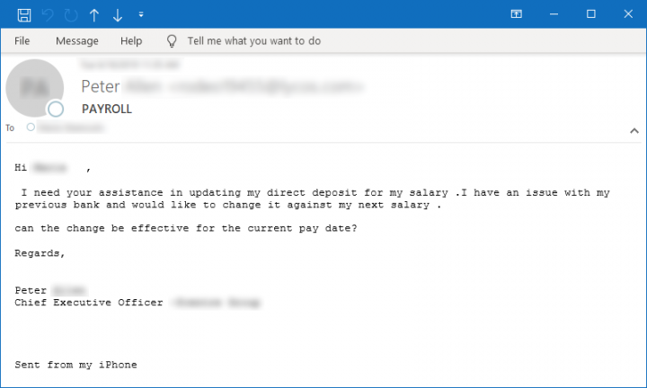 Figure 10. Sample email requesting assistance on a payroll/salary issue
