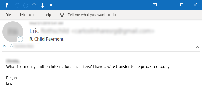 Figure 8. Sample email asking about international transfers