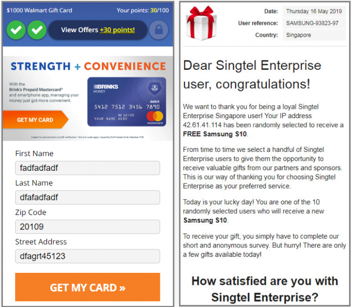Figure 5. Sample Fakeyouwon websites returned from a device connected to a U.S. IP address (left) and a Singapore IP address (right)