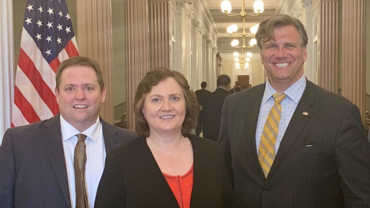The Symantec authors at The White House in July. Andrew Borene and Dr. Andrew Gardner are with Dr. Lynne Parker, Director for Artificial Intelligence at The White House Office of Science and Technology Policy (OSTP).