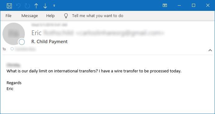 Figura 8. Ejemplo de correo electrónico preguntando sobre transferencias internacionales
