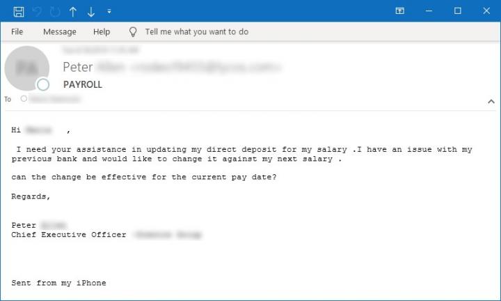 Figura 10. Ejemplo de correo electrónico solicitando asistencia sobre un problema de nómina/salario