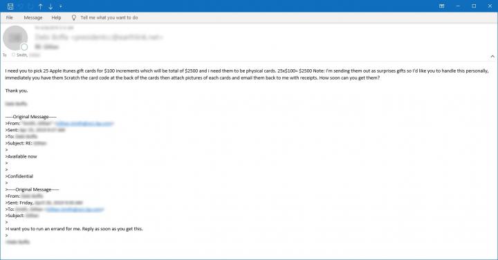 Figura 5. Ejemplo de correo electrónico solicitando a la víctima que compre tarjetas de regalo físicas de Apple iTunes