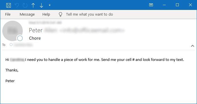 Figura 6. Ejemplo de correo electrónico solicitando el número de la víctima al que se deben enviar las instrucciones de pago