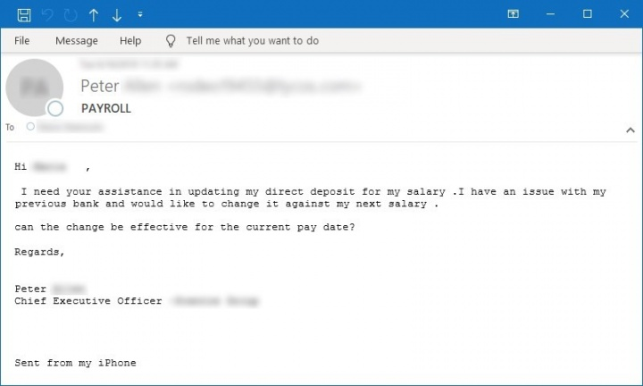 Figura 10. Amostra de email solicitando assistência com um problema de pagamento/salário