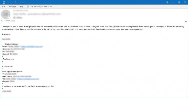 Figura 5. Amostra de email pedindo que a vítima compre vales-presente físicos do Apple iTunes