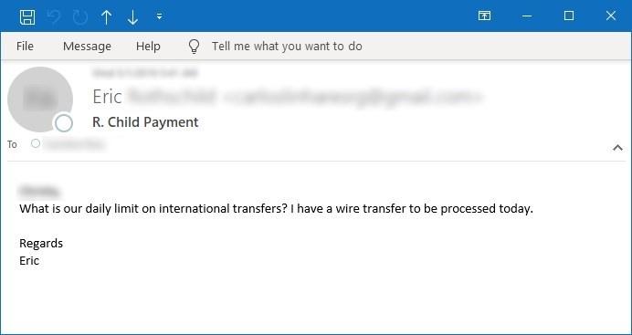 Figura 8. Amostra de email perguntando sobre transferências internacionais