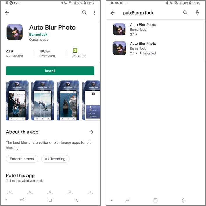 Figure 8. Two similar apps published by Burnerfock, one malicious and one clean. The clean sample (left) was ranked by Google as #7 in the Top Trending Apps category.