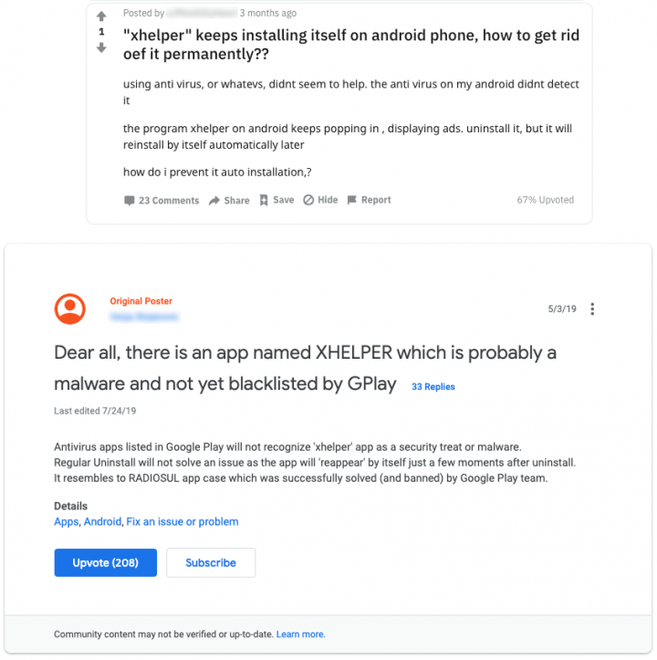 Figure 1. Users complain on forums about Xhelper (Top: Google, Bottom: Reddit)