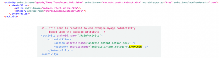 Figure 2. Code used to remove app from application launcher (top) and list app in launcher (bottom)