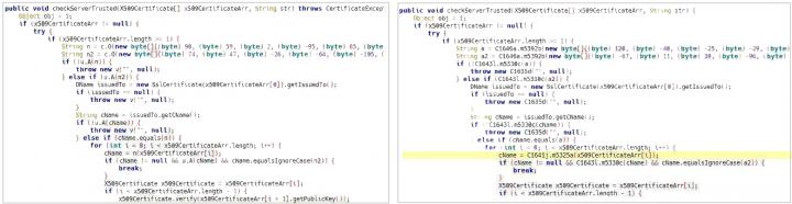 Figure 5. Xhelper code containing SSL certificate-pinning feature